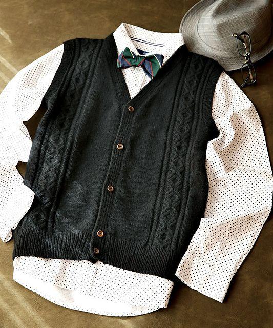 Very dapper knit vest pattern.  Wish I could convince hub to wear it if I knit it.