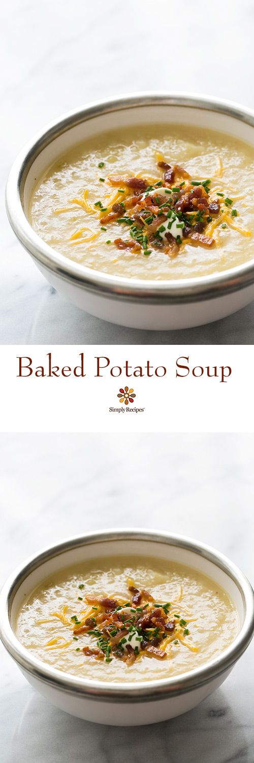 Baked potato lovers, this soup is for you! Potato soup made with baked potatoes and topped with crispy bacon, grated cheddar, sour cream and chives. On SimplyRecipes.com