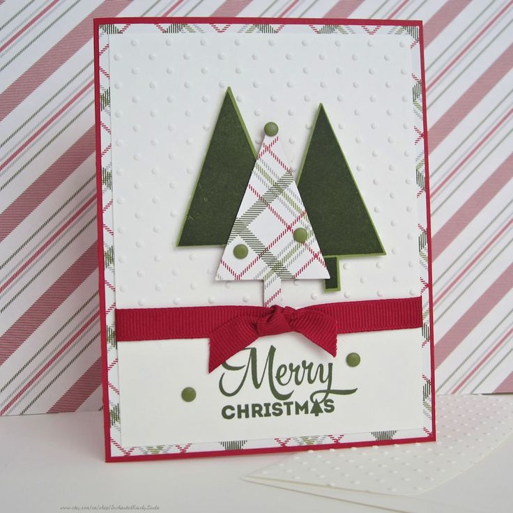 Holiday Card, Christmas Trees, Merry Christmas, embossed with tiny dots, ribbon…