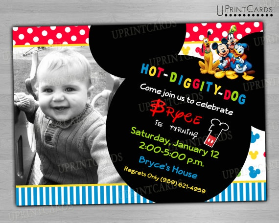DIY PRINTABLE - Mickey Mouse Clubhouse - Birthday Party - Personalized Photo - Digital Printable Invitation 4x6 or 5x7 JPEG
