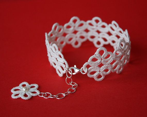 Tatted Lace bracelet ivory tatting sterling silver by LaceLadyOla, $40.00