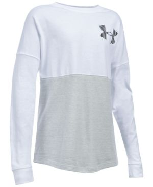 Under Armour Varsity Crew Sweatshirt, Big Girls (7-16) - White/Black XL