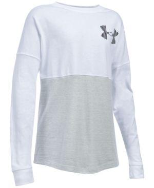 Under Armour Varsity Crew Sweatshirt, Big Girls (7-16) - White/Black XL