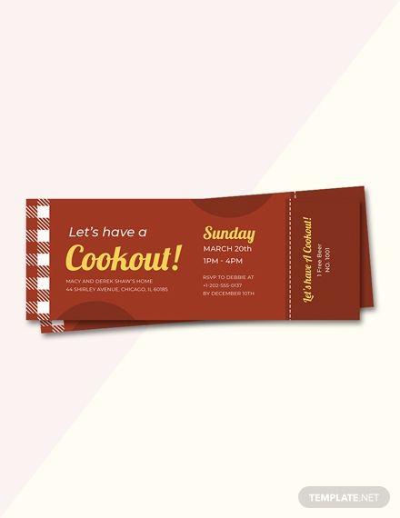 BBQ Party Cookout Ticket Ticket Templates  Designs 2019 Bbq
