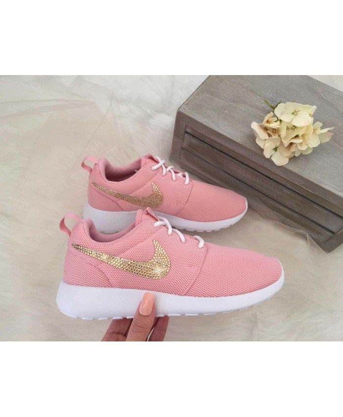 6e316405102a2 Nike Roshe One Pink Trainers with Rose Gold Swarovski Crystals UK ...