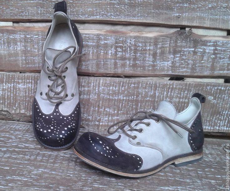 Купить Кожаные ботинки Vice Versa Paisley - белый, коричневый цвет, шоколадный цвет