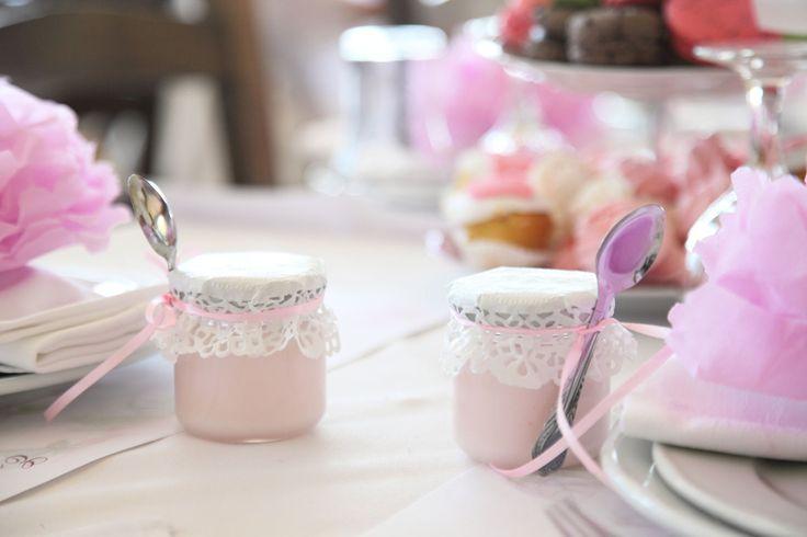 "little jars with pink ""vanillia"" sweet."