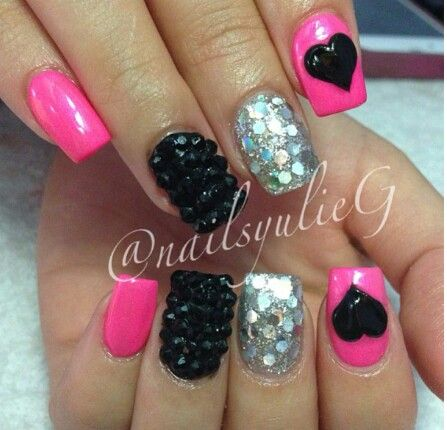 Pink, Black, & Silver Nails With Designs