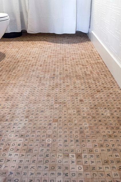 Scrabble tile floor - challenge accepted!  (Hidden messages to toilet sitters)