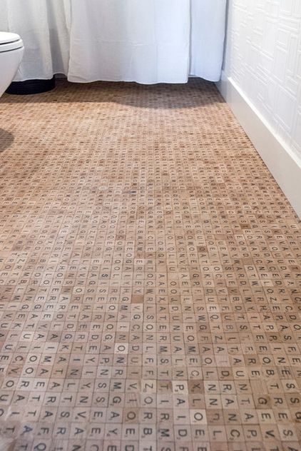 Scrabble Tile Floor by hours: Challenge accepted!  (Hidden messages to toilet sitters) #DIY #Scrabble_Floor