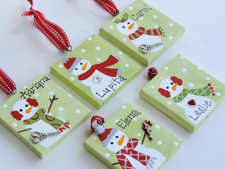 398 best snowmen images on pinterest 3x3 canvas christmas ornament personalized solutioingenieria Gallery
