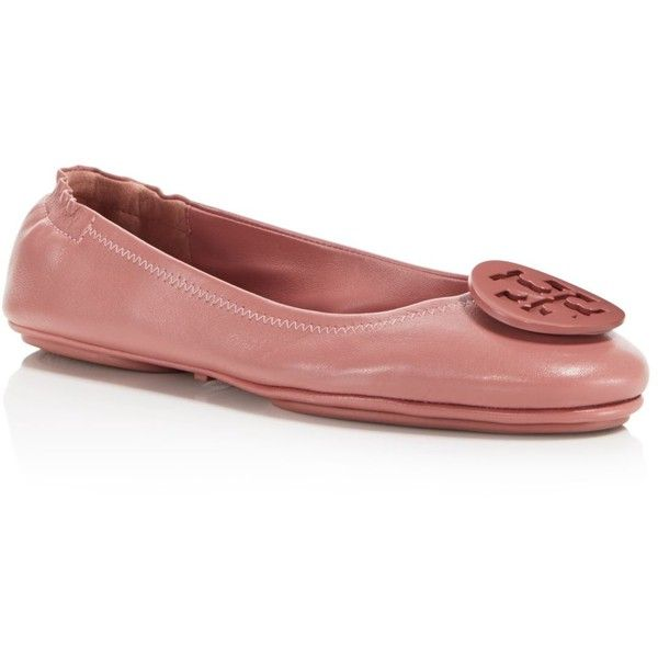 Tory Burch Minnie Travel Ballet Flats ($240) ❤ liked on Polyvore featuring shoes, flats, pink magnolia, pink ballet flats, ballet flats, pink flat shoes, flat shoes and pink ballet shoes