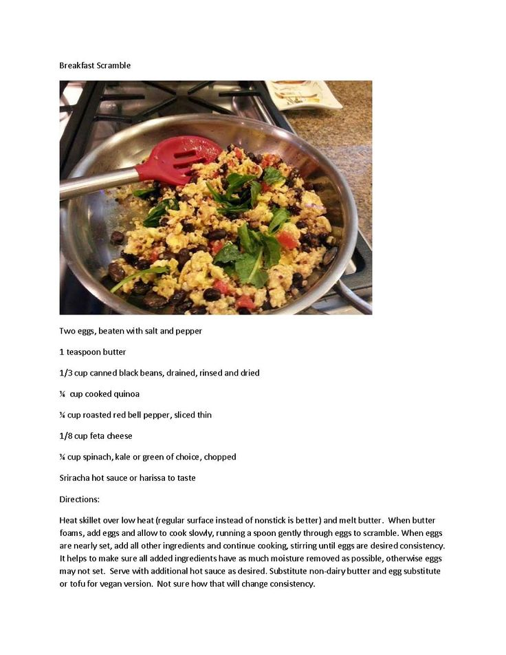 A savory breakfast scramble with lots of protein. For lower fat, substitute egg white for one of the eggs.  Vegan instructions at end of directions.