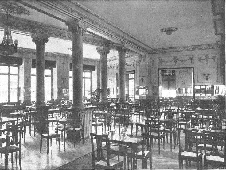 1917 Casa Molinero en la Gran Vía, 1. Salón de té . Sus salones eran frecuentados por un público selecto, incluían pista de baile amenizada por orquesta. El Restaurante Sicilia Molinero estaba en el primer piso