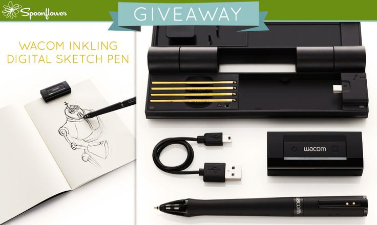 Check out this week's giveaway from Spoonflower-- a chance to win a Wacom Inkling!