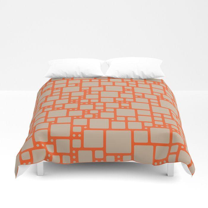 abstract cells pattern in orange and beige Duvet Cover #duvet #duvetcover #bedroom #bedroomdecor #homedecor #society6 #vrijformaat #pattern #design #orange #beige #retro #squares #abstract