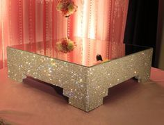 18 Square Crystal Cake Stand by POSHWeddingDecor on Etsy, $400.00  AHAHAHAHAHAHA....I cant see this as a cake stand for a groom's cake....it would out bling Anna's and we cant have that happen. LOL