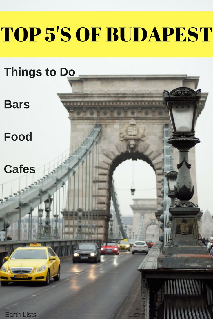Quick Lists of the Top 5 Things to Do, Bars, Restaurants and Cafe's to visit in Budapest, Hungary.