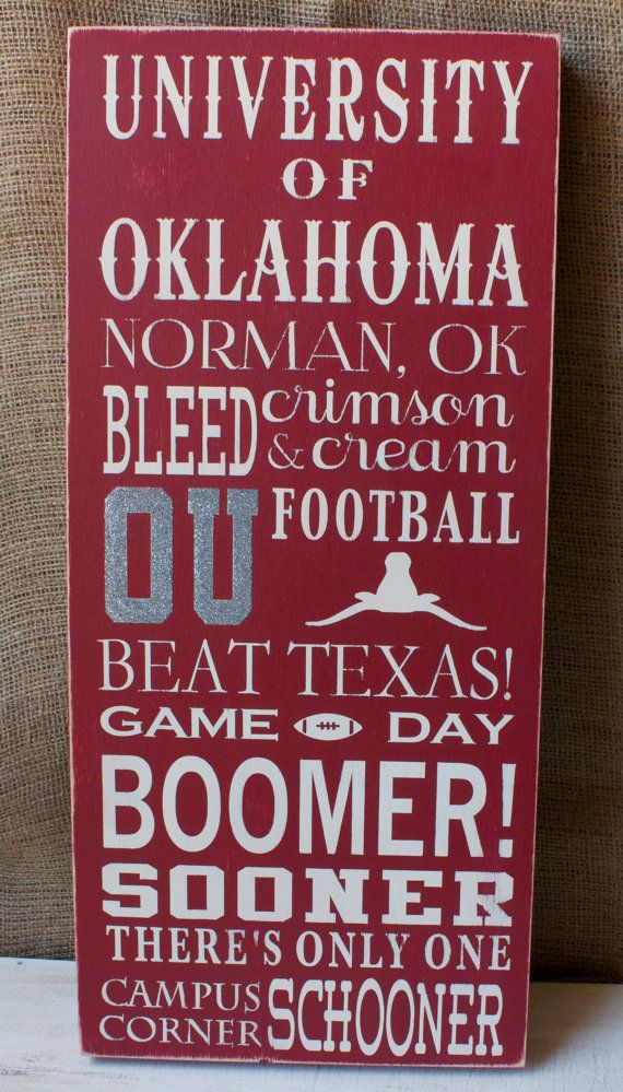 UNIVERSITY OF OKLAHOMA 10 x 22 Painted Box Sign by JustSayinDesign,D