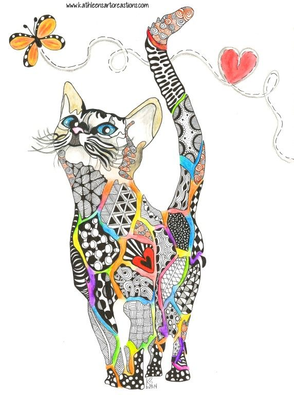 "Whimsical Zentangle® Inspired cat named ""Rainbow Kitty"" dedicated to all the animals that have crossed the Rainbow Bridge. Completed 6-29-14. A 12-pack of note cards are available for $23.00 with FREE shipping and handling. Prints also available plus much more."