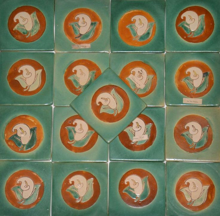 """San Jose Potteries Tiles for your mission, arts and crafts style home. These would be perfect accent tiles for a fireplace surround, kitchen back splash, or set on a table top. Pattern: """"Calla Lily"""" - Produced in the 1940's while under the ownership of Michaelian and Kohlberg. San Jose Potteries (1930's-1940's) - Reference Book: """"Colors on Clay"""" by Susan Toomey Frost. Reference Book: The Encyclopedia of"""