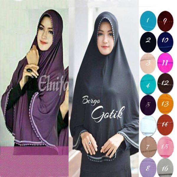 Hijab Bergo Gotik Jersey Model 2017 Terbaru Harga Murah dengan aksesoris sulam dan lis pita di sekeliling jilbab Ket : panjang sesuai gambar Bahan : adem