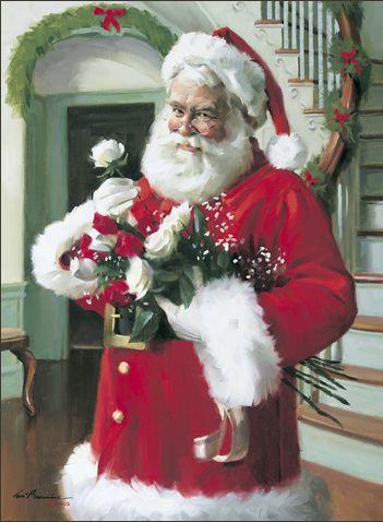 Tom Browning Christmas Cards, Santa Figurines