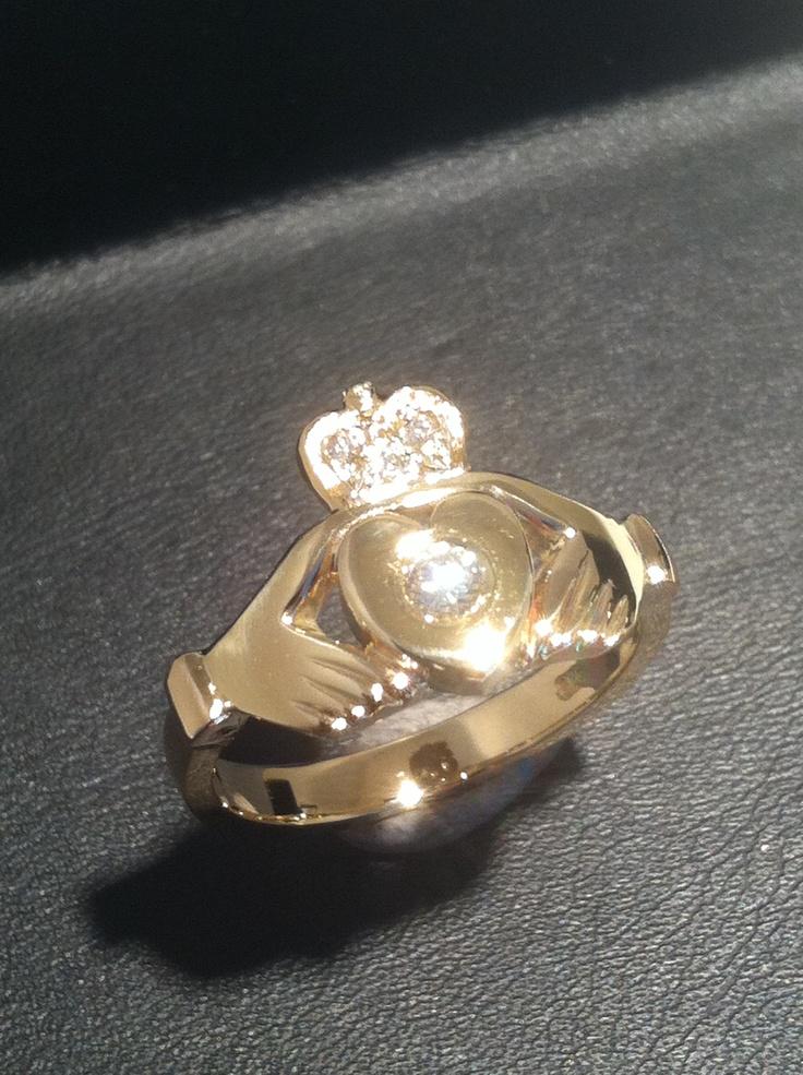 Diamond set claddagh  ring