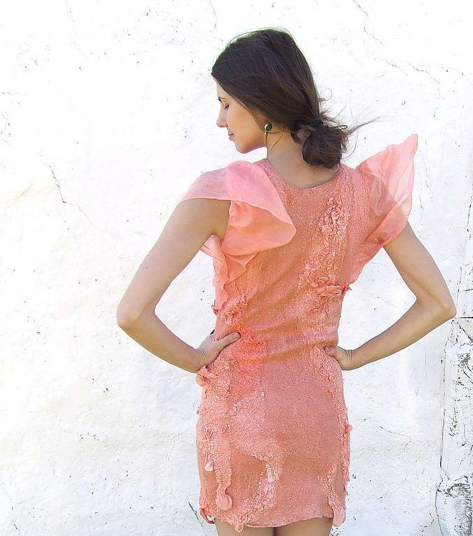 """Купить Платье шелково-шерстяное """"Розовый Коралл"""" - Розовое платье, авторская одежда, розовый коралл"""