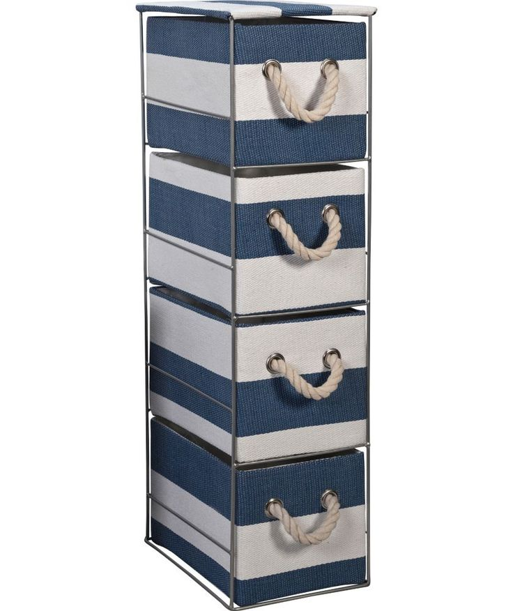 Buy Tall 4 Drawer Storage Tower   Blue And White At Argos.co.uk