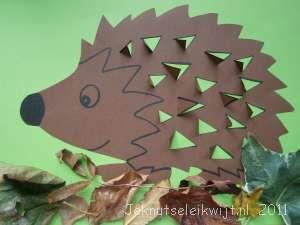 herfst knutsel egel op papier