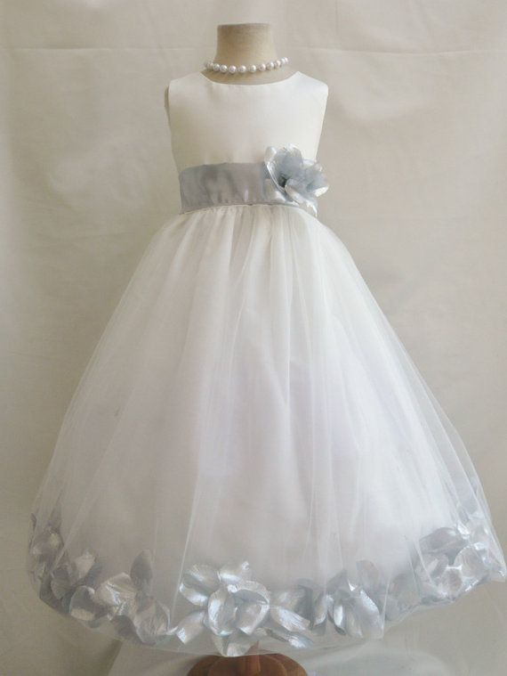 Flower Girl Dress IVORY w/ Silver PETAL Wedding by LuuniKids, $38.00