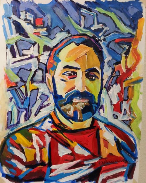Self portrait by RD Riccoboni acrylic painting on paper. #art #artist #followme #acrylic #painting #design #decor #sandiego #Californians #lgbt #gay #beardedartist #beardedman #beardporn #lumbersexual #lumberjack #beards #beardart #beardandmoustache...