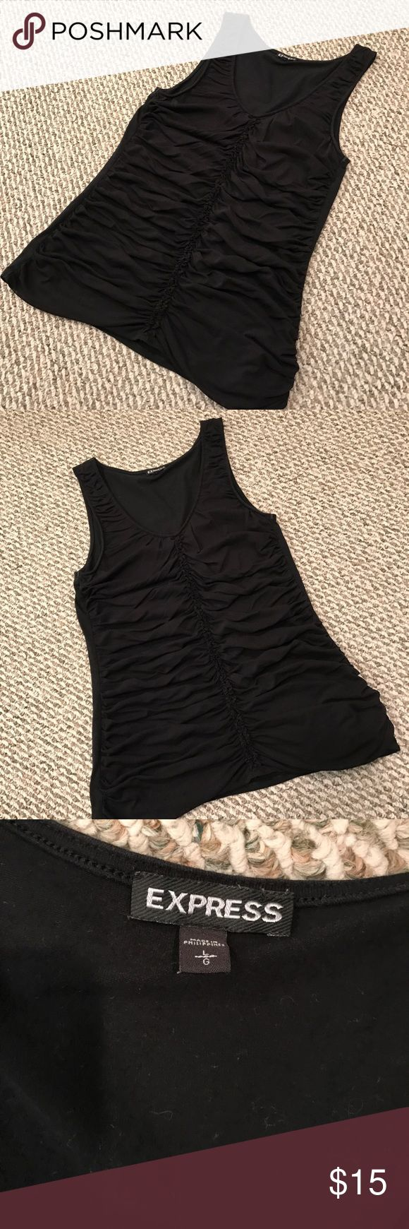 Black Scrunchy Tank Top Black Tank with scrunch detail in the front very flattering! Express Tops Tank Tops