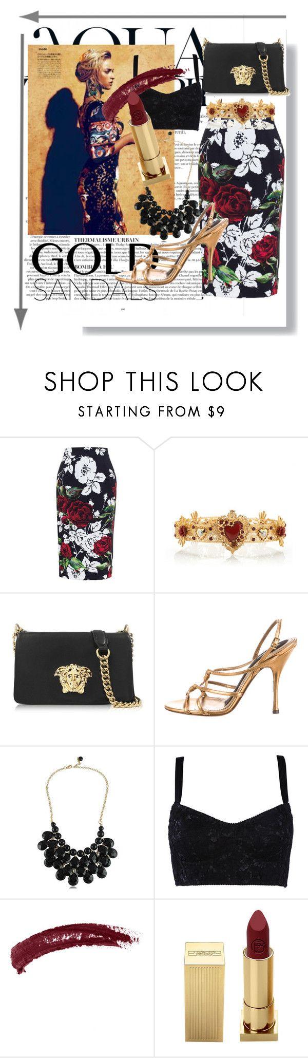 Golden Age by hacii on Polyvore featuring moda, Dolce&Gabbana, Versace, Lipstick Queen, Topshop, Anja, dolceandgabbana, goldsandals and beoriginal