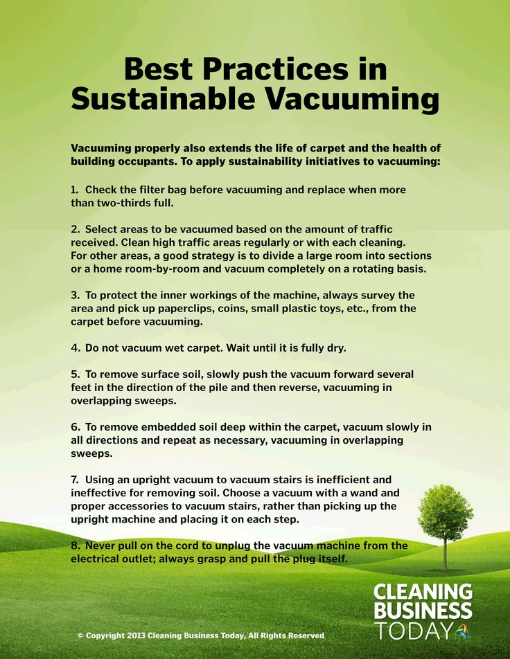 8 tips for sustainable vacuuming that will extend the life of carpet and help protect the health of building occupants.