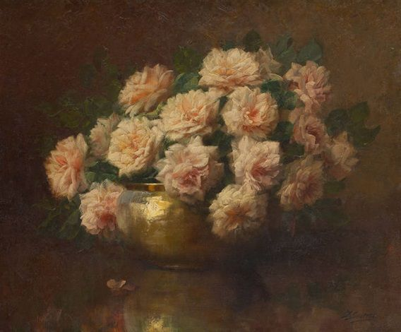 Coupe garnie de roses by Julien Stappers, oil on canvas