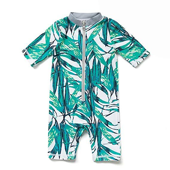 BONVERANO Baby//Toddler Girl Swim Suit L//S UPF 50 with Zipper