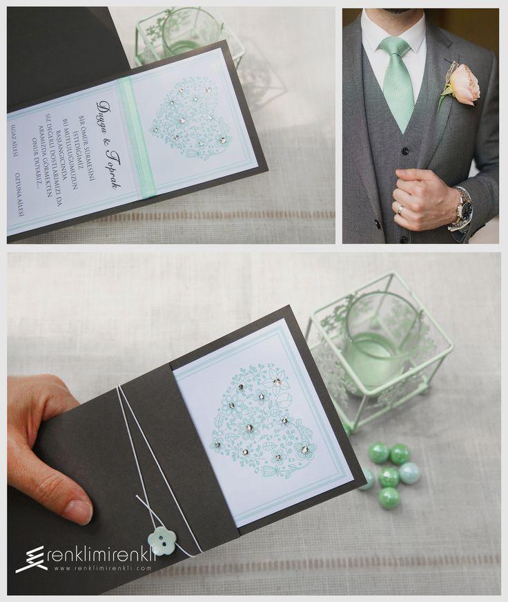 Davetinizin rengi mint yeşili...Davetiye kodu Kk01b