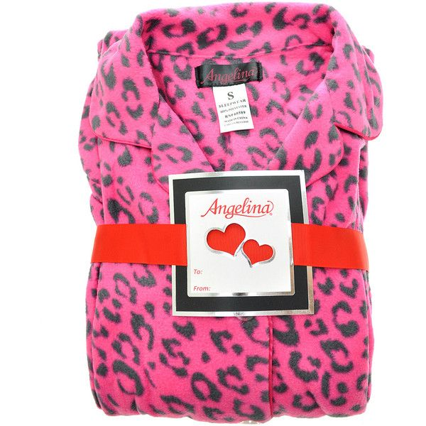 Angelina Pink & Gray Leopard Giftable Fleece Pajama Set ($20) ❤ liked on Polyvore featuring intimates, sleepwear, pajamas, plus size, plus size sleepwear, fleece pajama set, pink sleepwear, plus size pjs and fleece pajamas