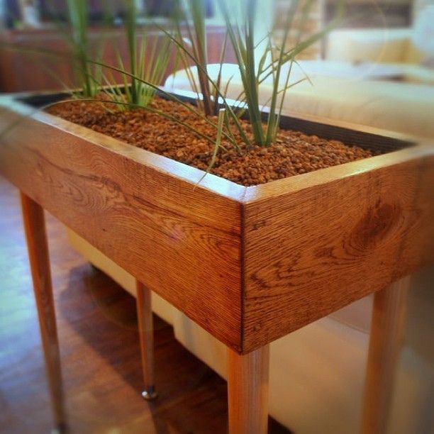 Indoor Planter Box Ideas: Modern Style Planter Box Table Custom Designed Handmade