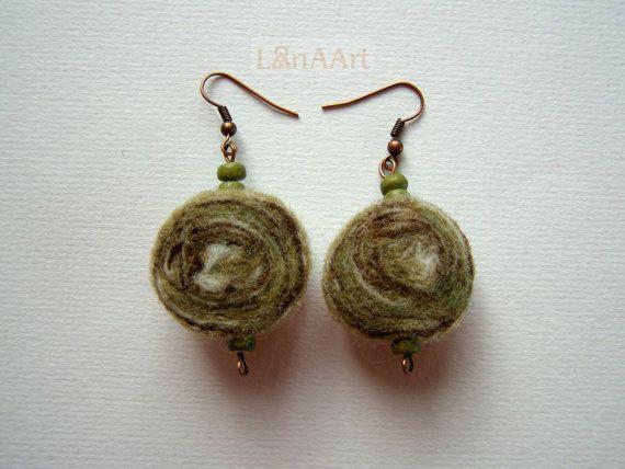 FOREST FAIRY TALE in leaf green - original felted earrings by LanAArt