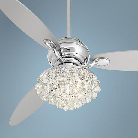 60 Quot Spyder Polished Chrome Crystal Ceiling Fan Ceilings