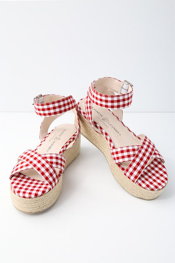53e9e176a2a9 ZALA RED AND WHITE GINGHAM ESPADRILLE FLATFORM SANDALS