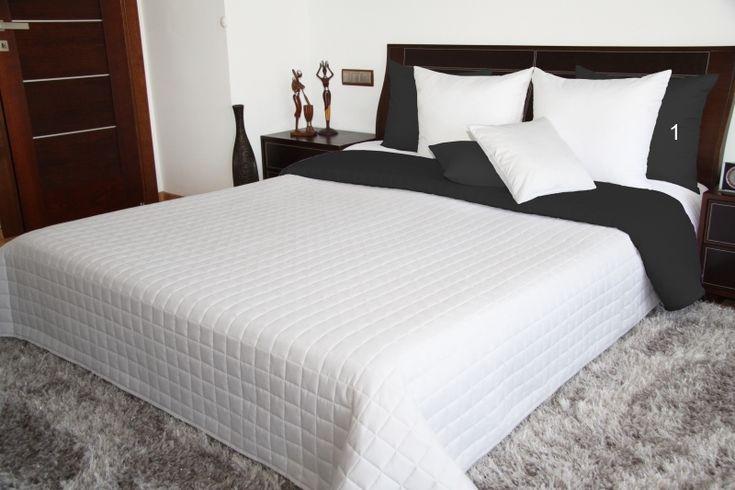 Biało czarna narzuta dwustronna na łóżko
