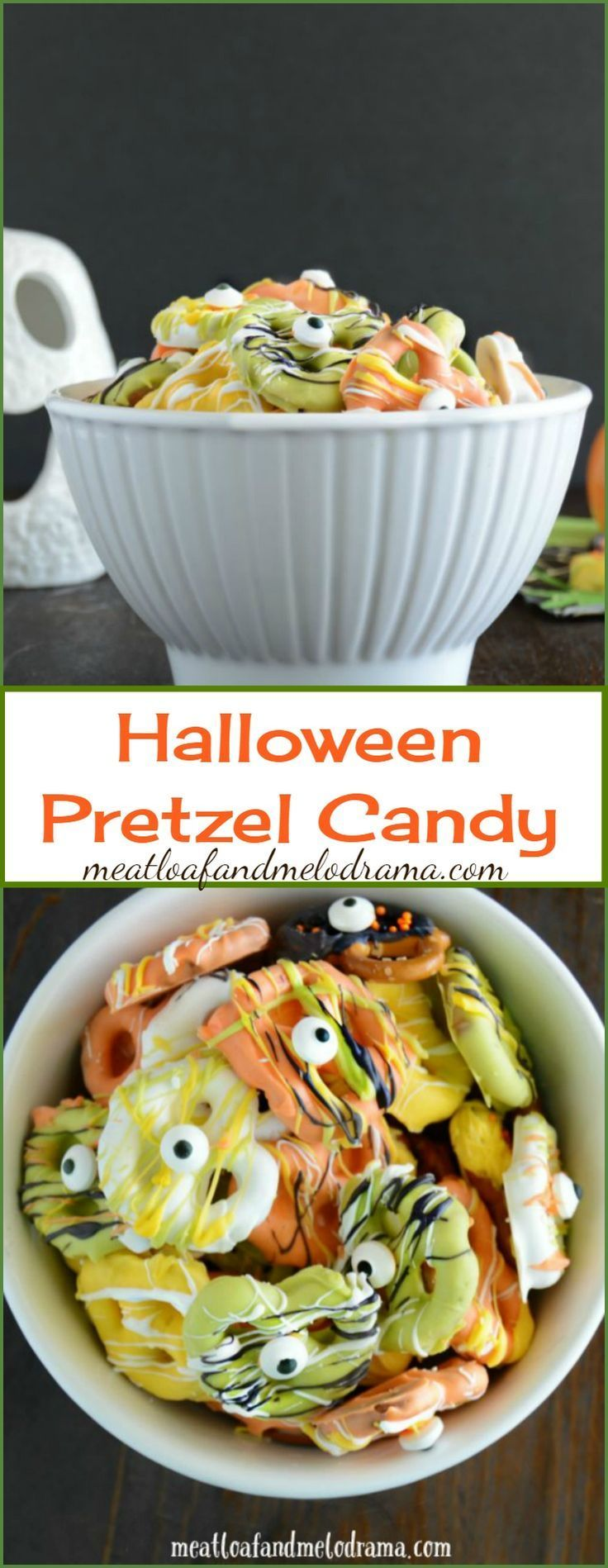 Easy Candy Coated Halloween Pretzels -- A quick and easy Halloween snack or party treat