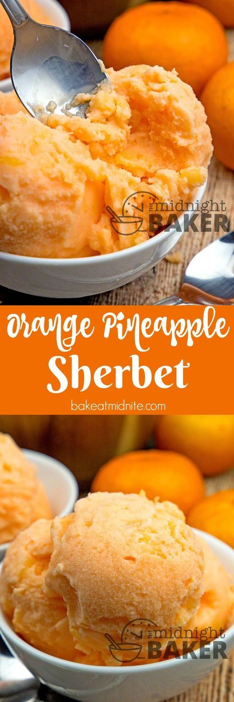 Light and refreshing sherbet made with orange sodapop and canned pineapple. Easy peasy to make.