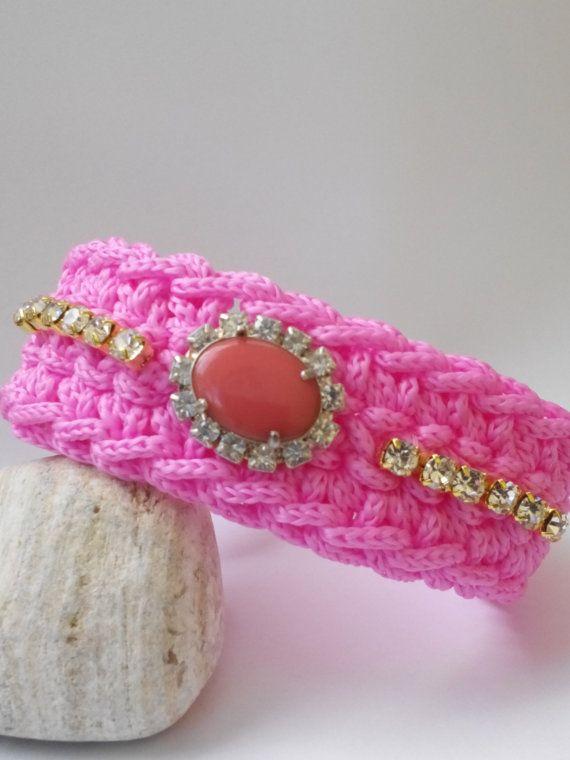 crochet braselet cristal swarovski от linaantoniou на Etsy