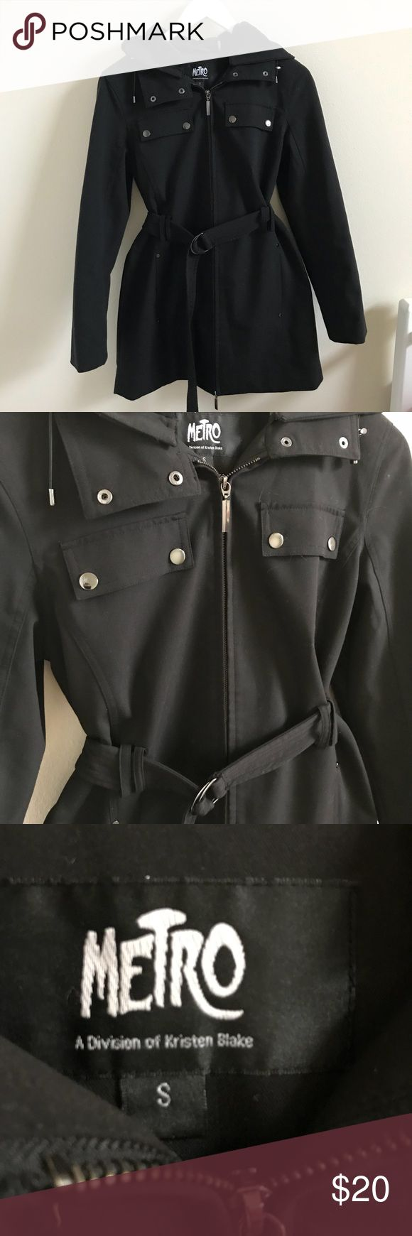 Black Rain Jacket Super nice and perfect weight rain jacket. Has a liner and fuzzy hood so great if you need a little more warmth than a regular rain jacket! Belt comes with and makes it 10x cuter! Comes from a smoke free home. Jackets & Coats Trench Coats