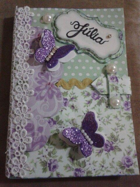 Capa de cartão de vacina decorado caderno em eva e tecido decorado